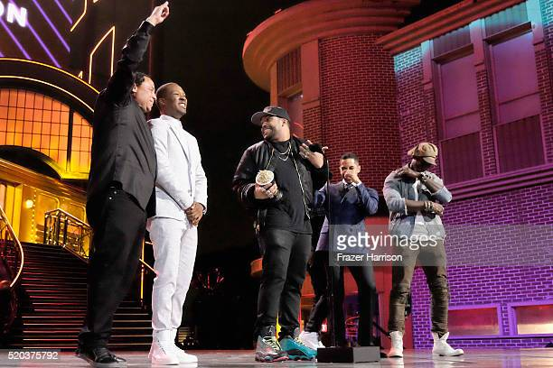 DJ Yella actors Corey Hawkins Jason Mitchell O'Shea Jackson Jr Neil Brown Jr and Aldis Hodge accept the award for Best True Story onstage during the...