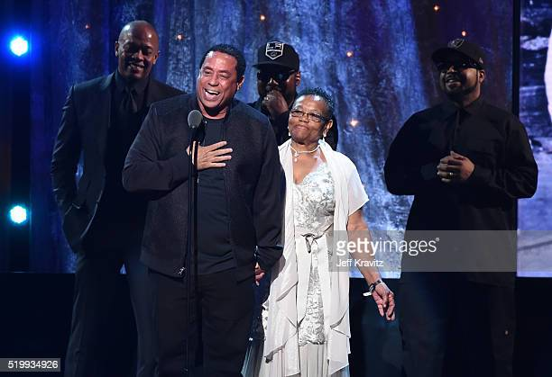 Yella speaks on stage at the 31st Annual Rock And Roll Hall Of Fame Induction Ceremony at Barclays Center on April 8 2016 in New York City