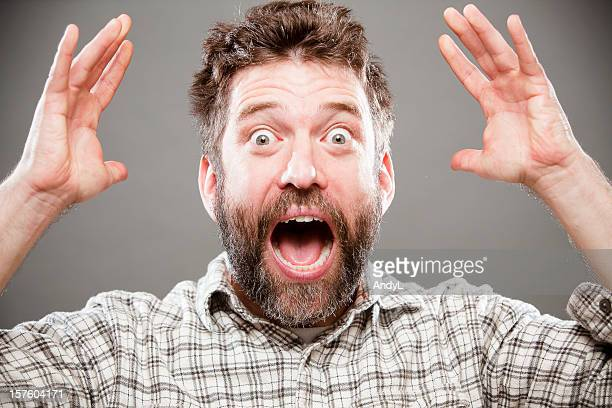 yelling - scary face stock photos and pictures