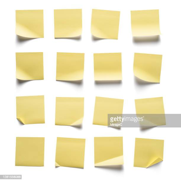 yellow adhesive notes collection - adhesive note stock pictures, royalty-free photos & images