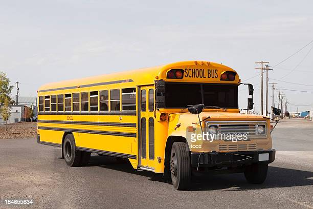 Yellow American Schoolbus on the Road