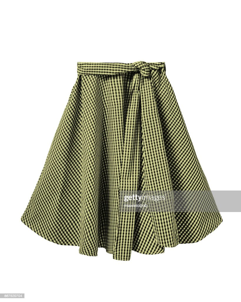 ff67d4291d0 Yellow and black checkered skirt with long ribbon belt isolated on white    Stock Photo