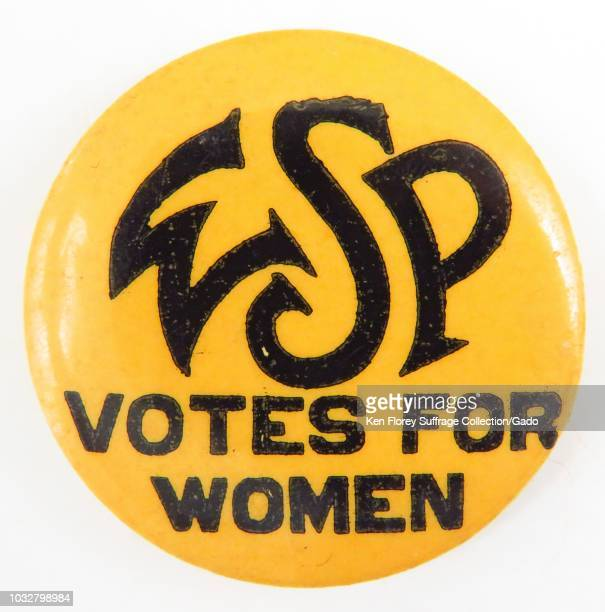 Yellow and black suffrage pin with the text WSP Votes for Women manufactured for the American market by the Woman Suffrage Party a New York suffrage...
