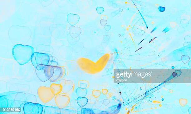 Yellow and Blue Abstract background with heat bokeh