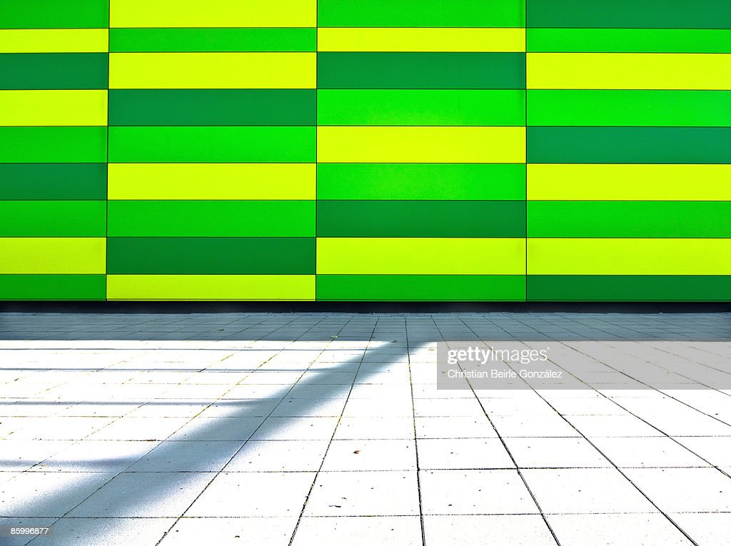 Yellow and Green Rectangles and a Gentle Shadow : Stock-Foto