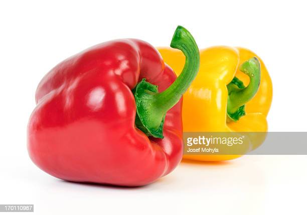yellow and red bell pepper - yellow bell pepper stock pictures, royalty-free photos & images