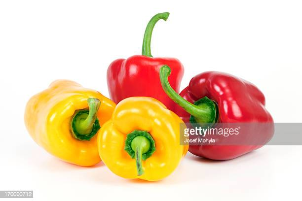 yellow and red bell peppers - yellow bell pepper stock pictures, royalty-free photos & images