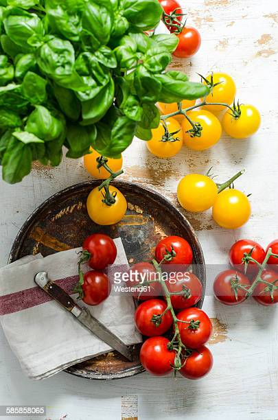 Yellow and red tomatoes, basil with a knife on a wooden board