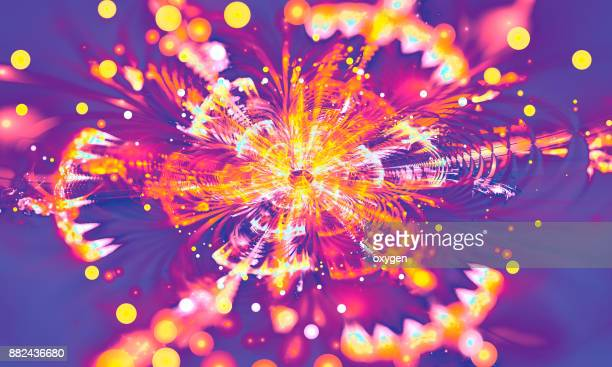 Yellow and violet absract star background