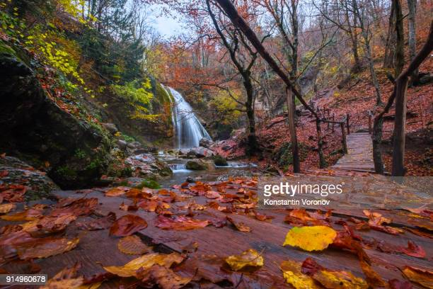 A yellow autumn leaves lies on a wooden footbridge. Waterfall in the background. Autumn forest. Hiking in the mountains.