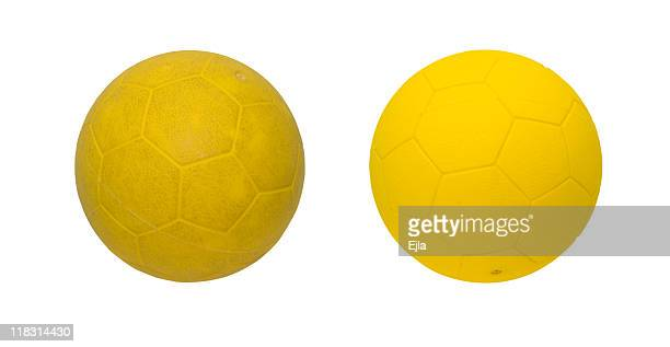 Yellow ball, clean and dirty