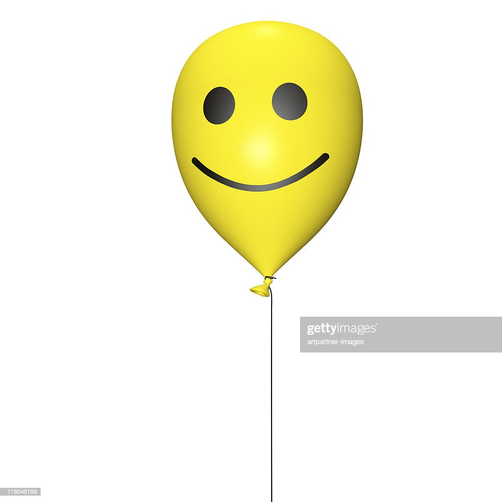 Yellow balloon with cord and smiley on white : Stock Photo