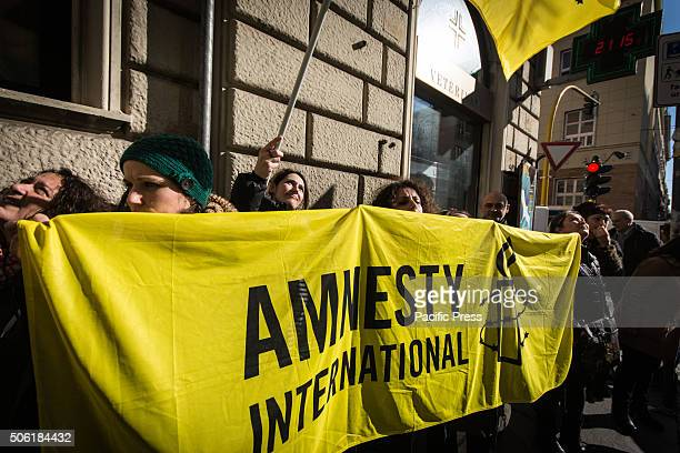 Yellow banner and flag use by protesters during protest in Rome Journalists and Italian citizens made their voices heard in solidarity with the...