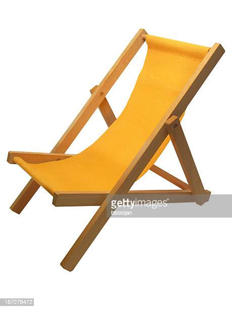 yellow beach chair isolated on white - outdoor chair stock pictures, royalty-free photos & images