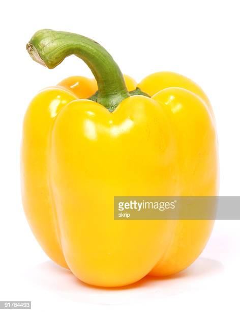 yellow bell pepper on white background - paprika stock pictures, royalty-free photos & images