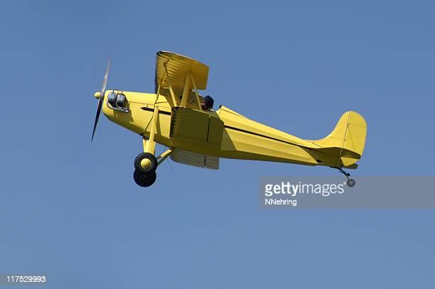 yellow biplane Rhinehart Rose Parrakeet A4C flying in blue sky