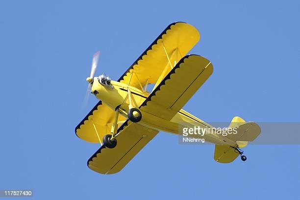 yellow biplane Rhinehart Rose Parrakeet A4C in clear blue sky