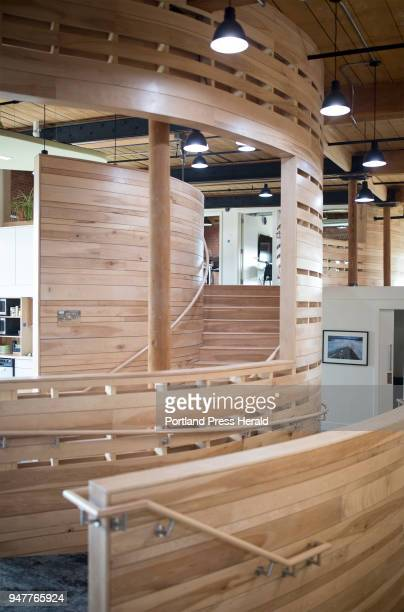 Yellow birch harvested from the Nature Conservancy's sustainably managed Upper St John Forest was used for the walls and upper level stairs in their...