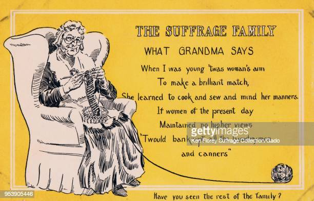 Yellow black and white card depicting an old woman wearing Edwardian clothing sitting in a chair and knitting text at right explain's 'Grandma's'...