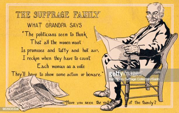Yellow black and white card depicting an older man wearing Edwardian clothing sitting in a chair and reading a newspaper text at right explain's...