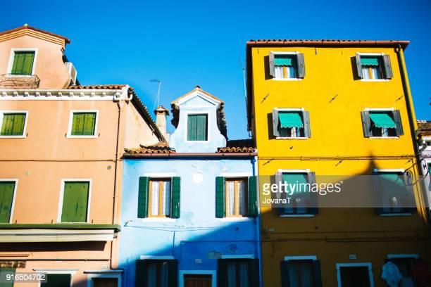 Yellow, blue and orange house in Burano island