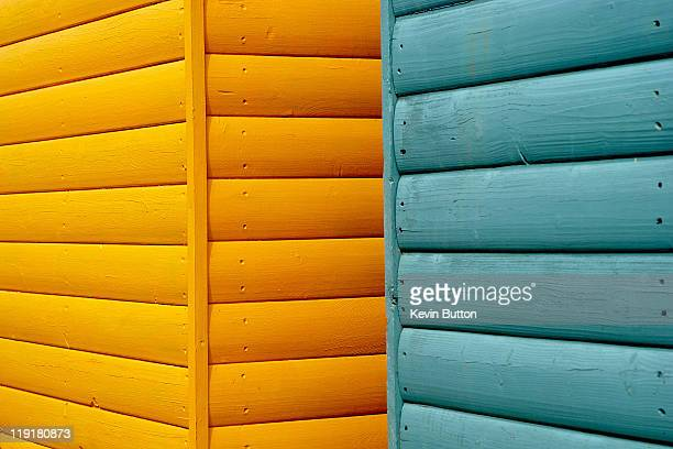 Yellow & blue beach huts abstract