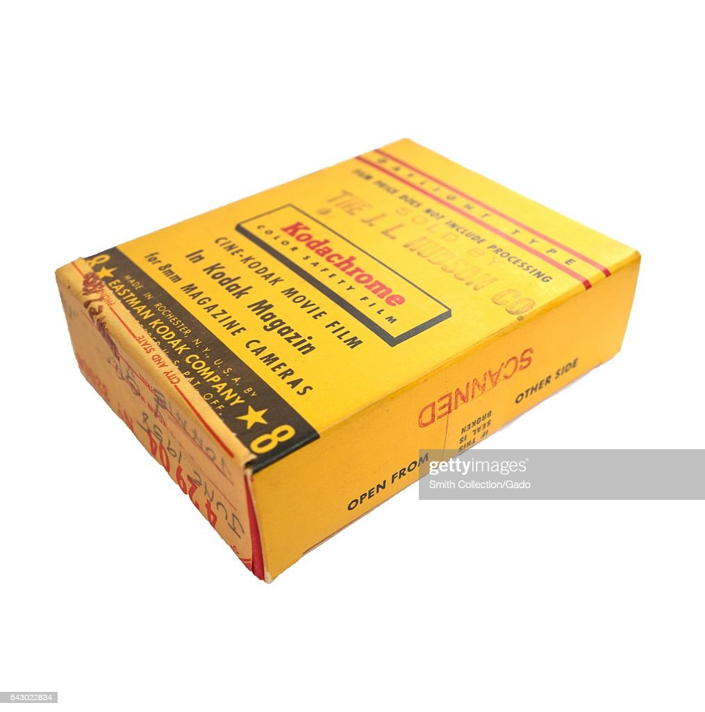 Yellow box for Kodak Kodachrome 8mm color movie film