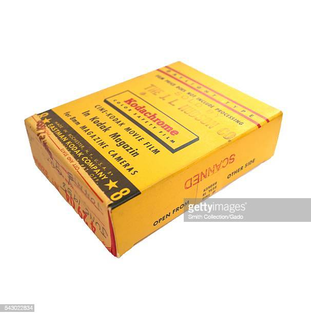 Yellow box for Kodak Kodachrome 8mm color movie film manufactured by the Eastman Kodak Company isolated on white background 1958