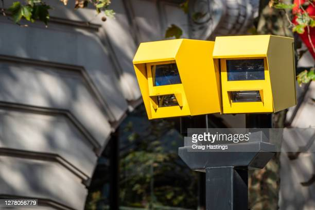 yellow box speed camera, central london, uk - law stock pictures, royalty-free photos & images