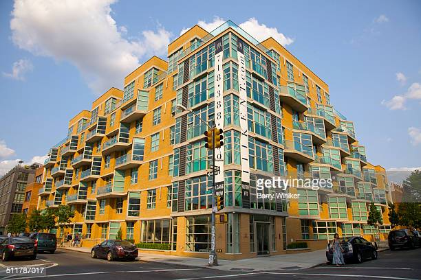 Yellow brick and glass Brooklyn apartment building