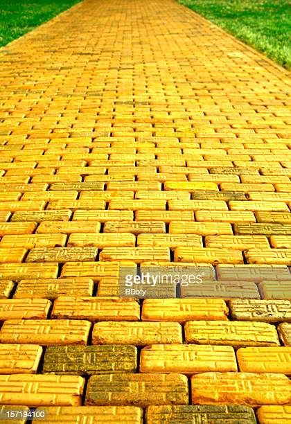 yellow brick road - brick stock pictures, royalty-free photos & images