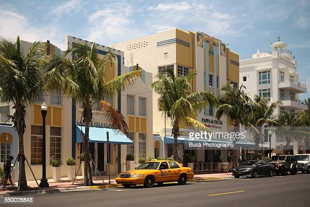 Yellow cab at Ocean Drive, Miami Beach