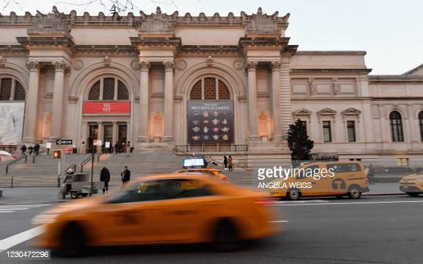 Yellow cab drives by the Metropolitan Museum of Art on January 7, 2021 in New York City.