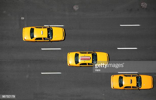 nyc yellow cabs - aerial - taxi stock pictures, royalty-free photos & images