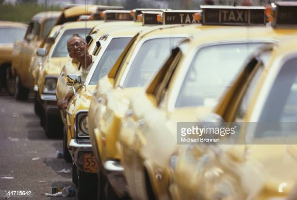 Yellow cabs waiting in line at LaGuardia Airport New York City March 1974