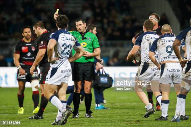 Yellow card Albertus Buckle of Lyon and Referer Adrien Descottes during the Top 14 match between Lyon and Agen at Gerland Stadium on January 27 2018...
