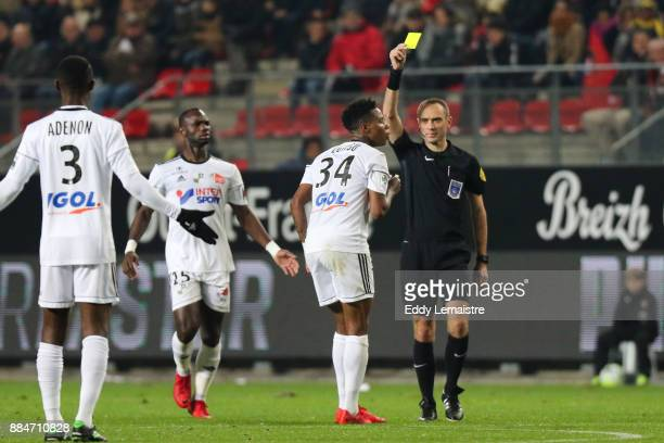 yellow card for Bongani Zungu of Amiens during the Ligue 1 match between Stade Rennais and Amiens SC at Roazhon Park on December 2 2017 in Rennes