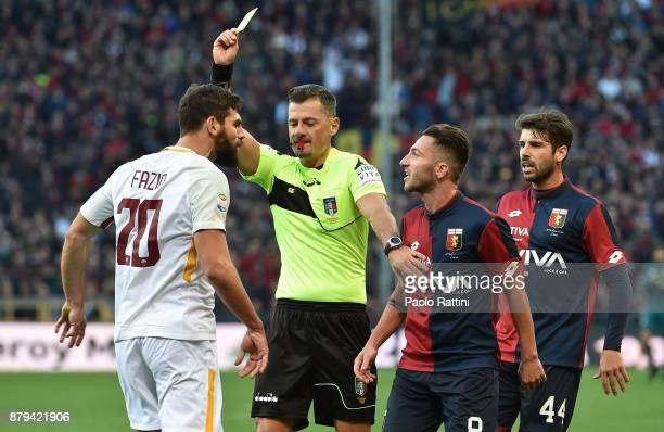 Yellow card for Federico Fazio of Roma during the Serie A match between Genoa CFC and AS Roma at Stadio Luigi Ferraris on November 26 2017 in Genoa...