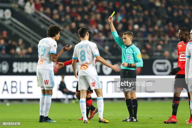 Yellow card for Luiz Gustavo of Marseille during the Ligue 1 match between Rennes and Marseille at Roazhon Park on January 13 2018 in Rennes France