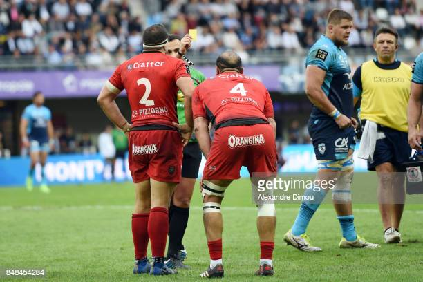 Yellow card for Mamuka Gorgodze of Toulon during the Top 14 match between Montpellier and Rc Toulon at on September 17 2017 in Montpellier France