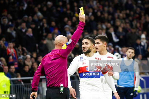 Yellow Card for Nabil Fekir of Lyon and Referee Amaury Delerue during the Ligue 1 match between Olympique Lyonnais and Stade Rennes at Parc Olympique...