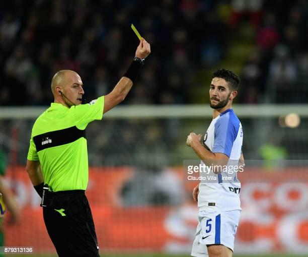 Yellow card for Roberto Gagliardini of FC Internazionale during the Serie A match between Cagliari Calcio and FC Internazionale at Stadio Sant'Elia...