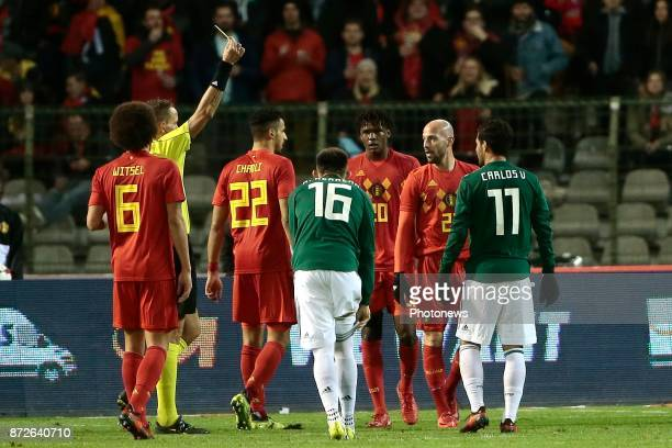 Yellow card Laurent Ciman defender of Belgium during a FIFA international friendly match between Belgium and Mexico at the King Baudouin Stadium on...