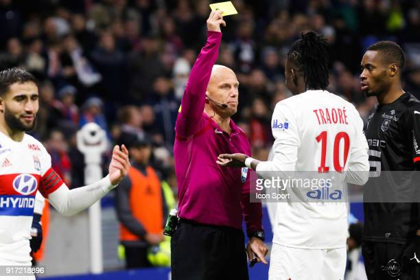 Yellow card Referee Amaury Delerue and Bertrand Traore of Lyon during the Ligue 1 match between Olympique Lyonnais and Stade Rennes at Parc Olympique...