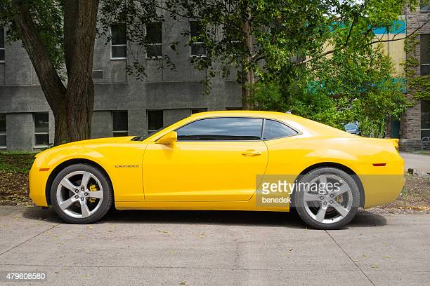 yellow chevrolet camaro rs - camaro stock photos and pictures