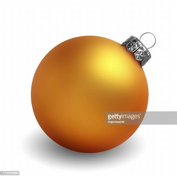 Yellow Christmas ornament against white background