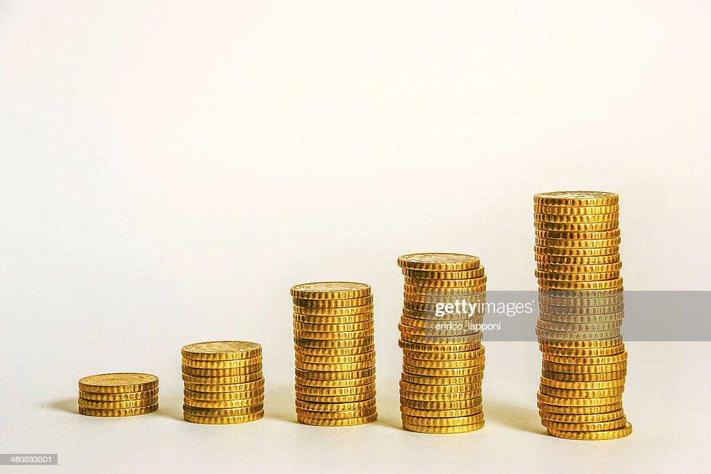 Gelbe Münzen : Stock-Foto