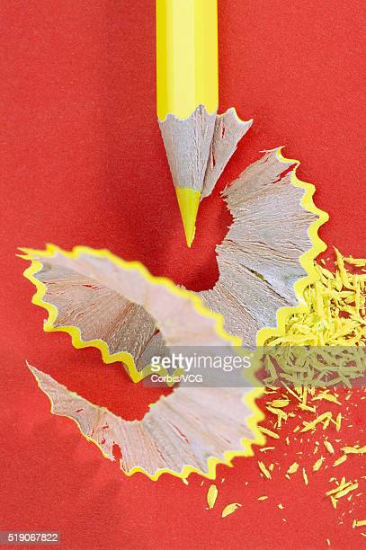 Yellow Colored Pencil and Pencil Shavings