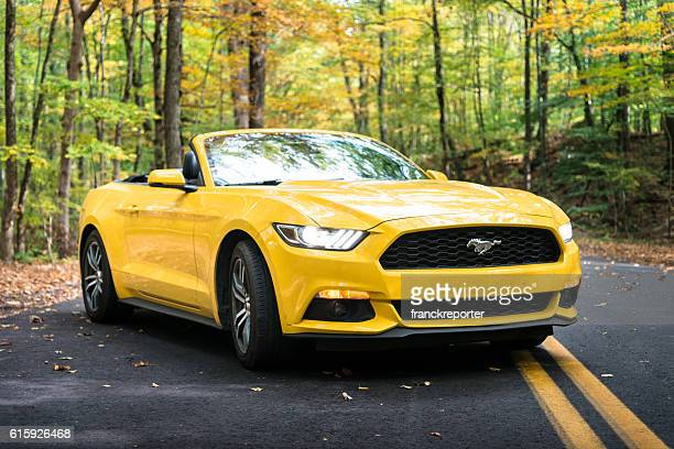 Yellow convertible mustang parked on the road