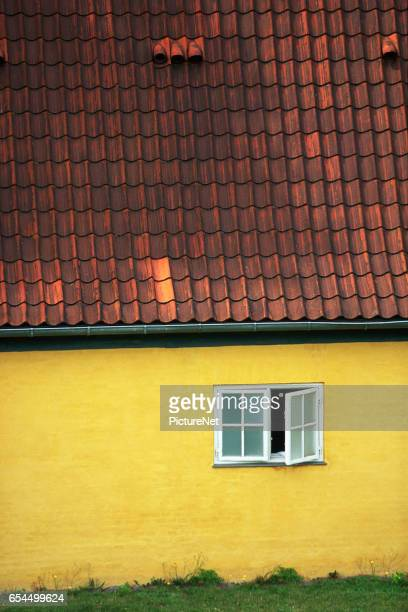 yellow copenhagen home - oresund region stock photos and pictures
